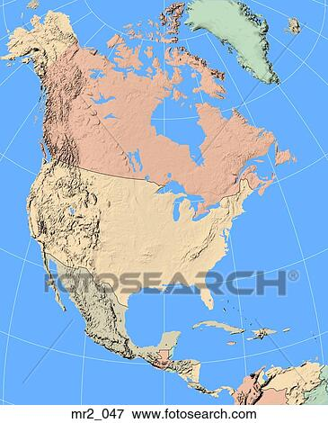 Map, united states, political, north america, atlas Stock Photo