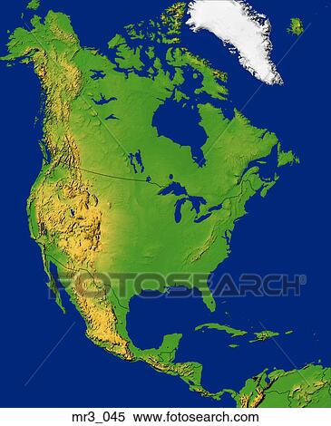 Map North America Relief Terrain Topographic Stock Image Mr3 045