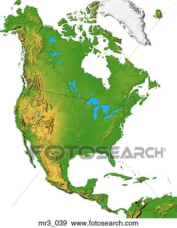 Map North America Relief Terrain Topographic Stock Photo