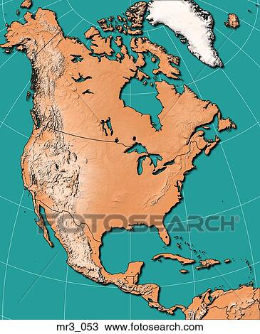 Map North America Relief Terrain Topographic Stock Photo Mr3 053