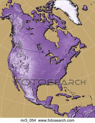 Stock Photo Of Map North America Relief Terrain Topographic