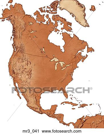 Stock Photography Of Map North America Relief Terrain