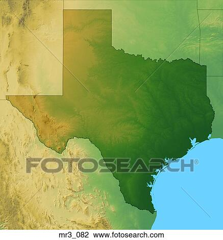 Relief Map Of Texas.Stock Photo Of Map Relief Terrain Texas Topographic Mr3 082