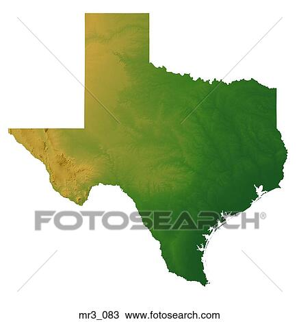 Relief Map Of Texas.Stock Photo Of Map Relief Terrain Texas Topographic Mr3 083
