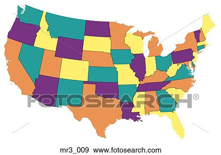 Stock Photograph Of Map Us United States Political Atlas Mr3 009