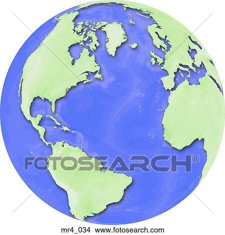 地球, 地図, 北大西洋, 世界 ピ...