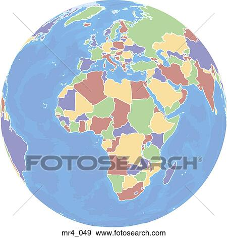 Europe, middle east, map, globe, africa Stock Photo