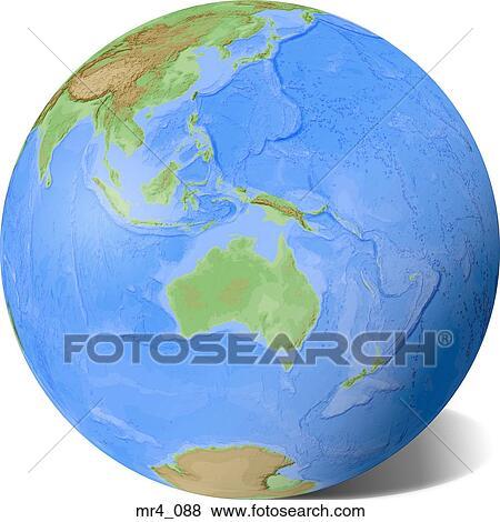 globe relief map indonesia australia