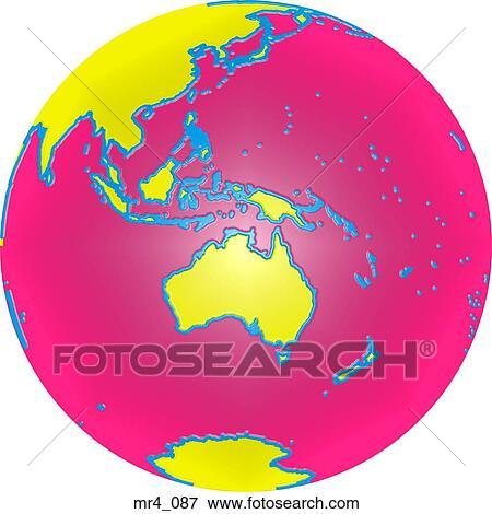 globe world map indonesia australia