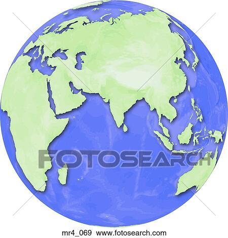 Indonesia, china, indian ocean, india, globe, map, asia Stock Photo