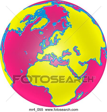 Middle East Asia Map Globe Europe Africa Stock Image Mr4 055