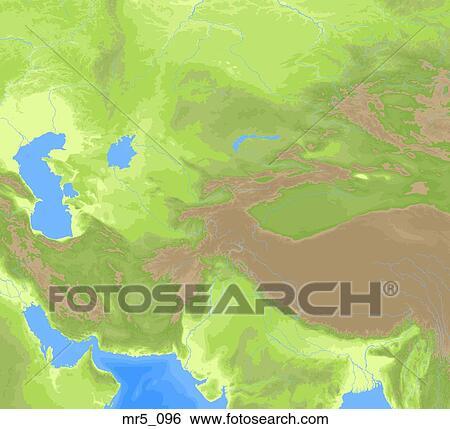 Central asia, political, map, atlas Stock Photograph ...