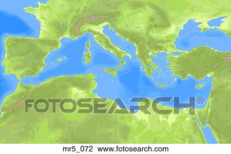 Mediterranean Political Map.Stock Photo Of Europe Political Mediterranean Map Atlas Mr5 072