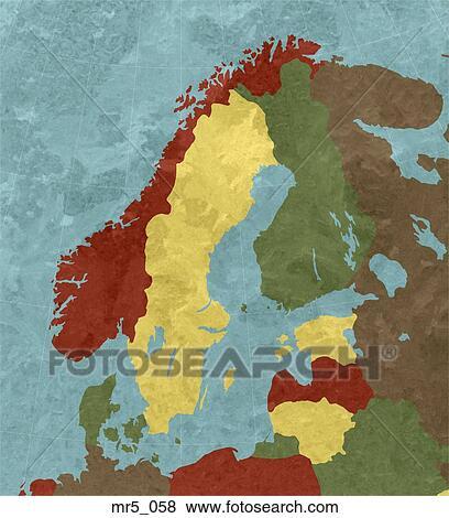 Karte Norwegen Schweden.Finnland Landkarte Norwegen Skandinavien Schweden Stock Foto
