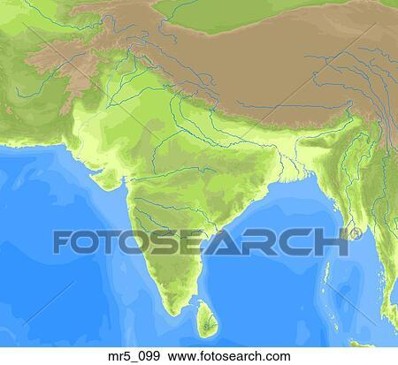 Stock Photograph of india, southwest asia, political, map, atlas ...