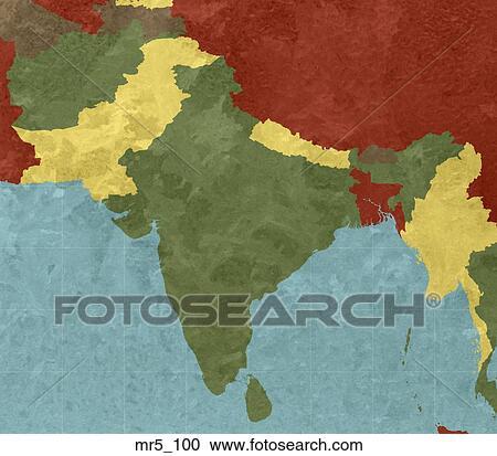 Stockbilder Indien Karta Sydvast Asien Mr5 100 Sok Stock