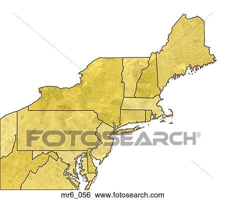 地図, 政治的である, 北東, ニューイングランド, 地図帳 画像 ...