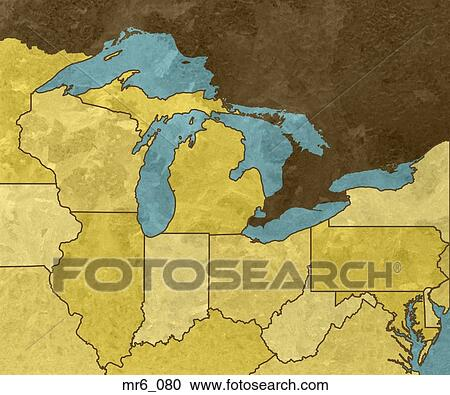 Stock Photography of great lakes, map, united states, us, usa ...