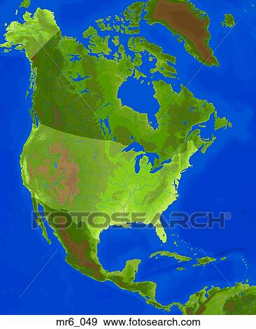 Stock Photograph Of Map North America Relief Terrain Topographic