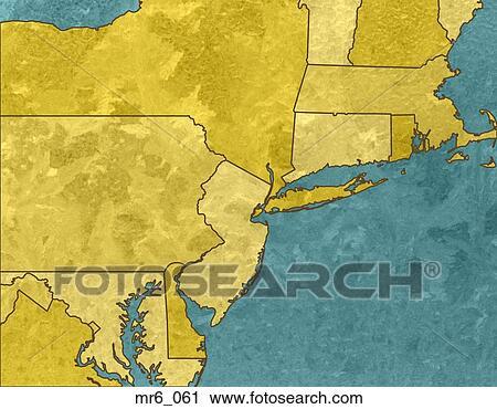 Map, united states, political, northeast corridor, atlas ...