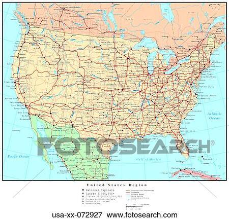 kaart, van, usa, gebied, met, land, grenzen stock foto | usa-xx
