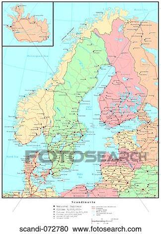 Landkarte Von Skandinavien Mit Land Grenzen Stock Bild