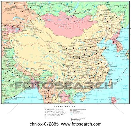 Map Of China Region.Stock Image Of Map Of China Region With Country Boundaries Chn Xx