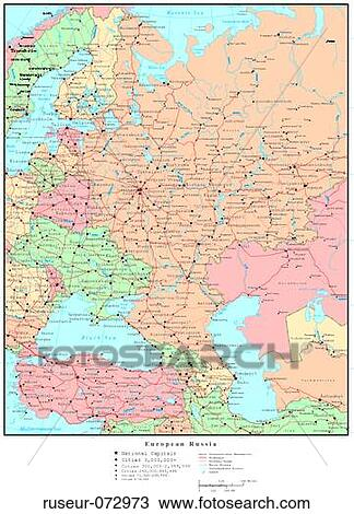 Stock Photo Of Map Of European Russia With Country Boundaries
