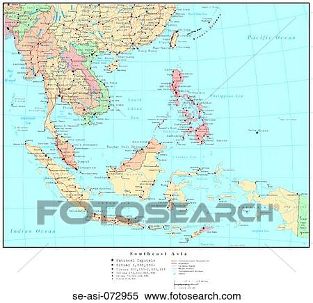 Map of Southeast Asia, with Country Boundaries Stock Photography