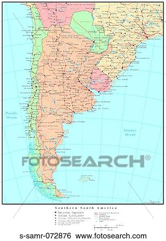 Map of Southern South America, with Country Boundaries Stock Photograph