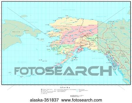 Political Map Of Alaska.Picture Of Map Political United States Usa States Alaska 351837