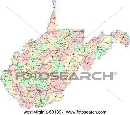 Picture Of Map Political United States Usa States West Virginia