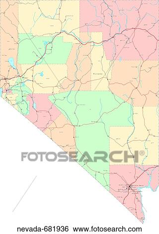 Political Map Of Nevada.Stock Images Of Map Political United States Usa States Nevada