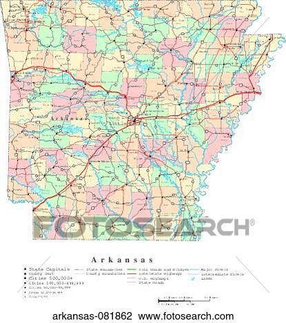 Map Political United States Usa States Stock Photo Arkansas 081862