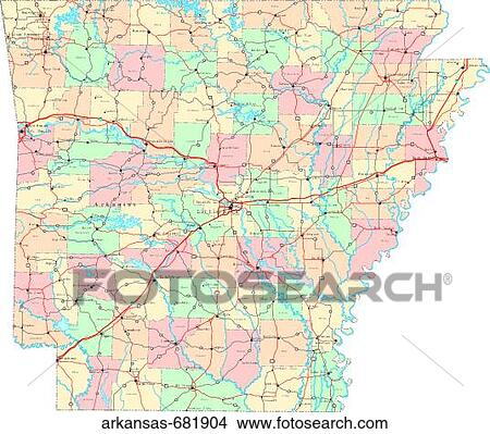 Stock Photo Of Map Political United States Usa States Arkansas