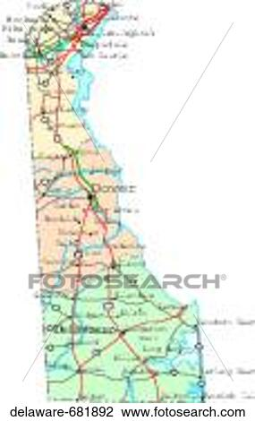 Stock Photo of map, political, united states, usa, states delaware ...