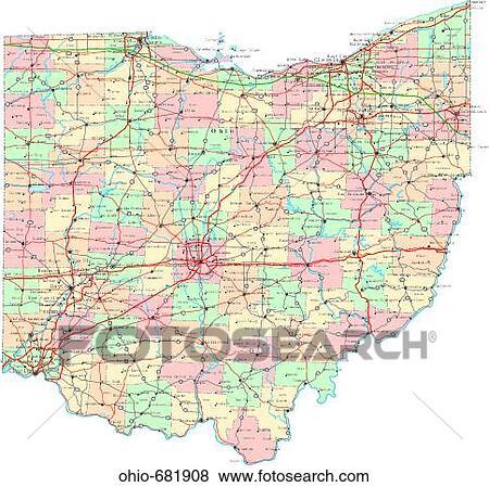 Map Political United States Usa States Stock Photo Ohio 681908 - Us-map-1908