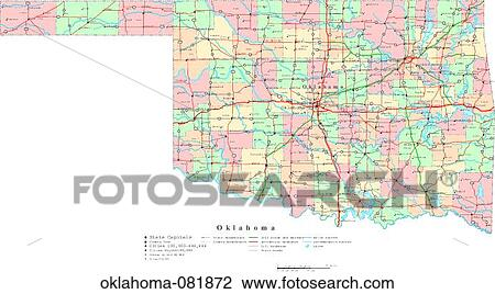 Stock Photo Of Map Political United States Usa States Oklahoma