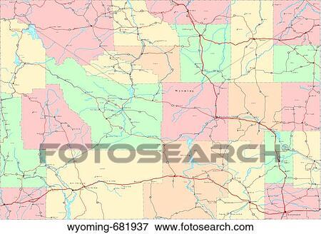 Map, political, united states, usa, states Stock Photo