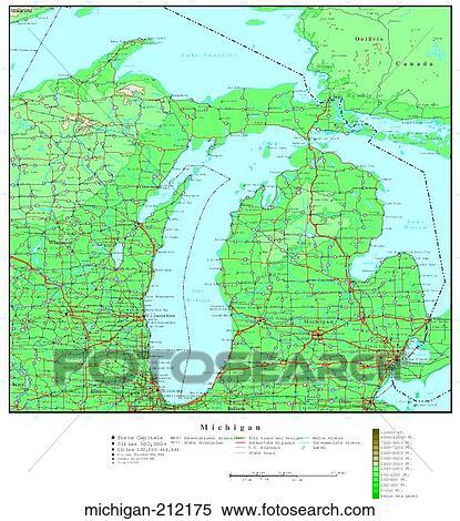 Stock Image Of Map Contour United States Usa States Michigan