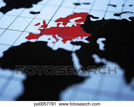 Stock Photography of Map of eastern hemisphere highlighting Europe ...