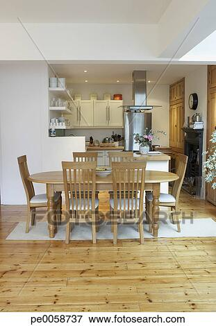 Vuoto, cucina, e, sala da pranzo, con, aperto, pianta di ...