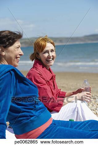 Mature women on the beach