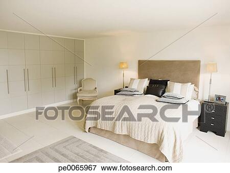 Image - intérieur, de, blanc cassé, moderne, chambre à coucher ...