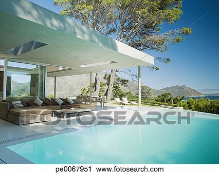 Stock fotografie hippe thuis terras en oneindigheid zwembad