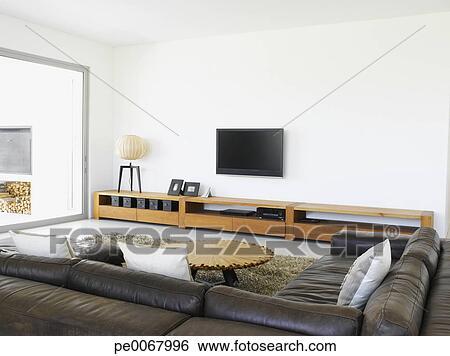 Stock Afbeeldingen - sofa, en, televisie, in, woonkamer, van, hippe ...