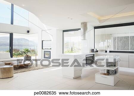 Stock Afbeelding - hippe, keuken, en, woonkamer pe0082635 - Zoek ...