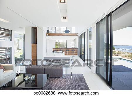 Immagini - soggiorno, e, sala da pranzo, in, moderno, casa ...