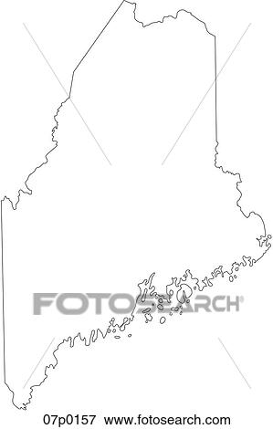 Clip Art of maine map 07p0157 - Search Clipart, Illustration ...