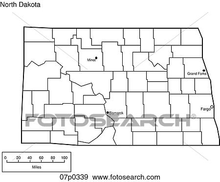 Clip Art of north dakota county map 07p0339 - Search Clipart ...